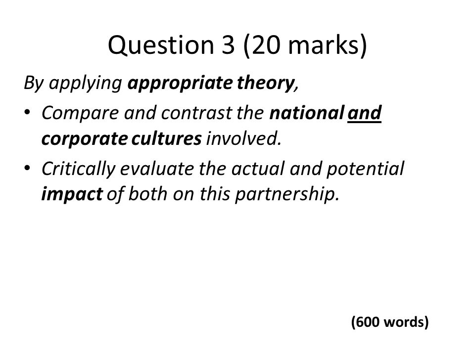 Question 3 (20 marks) By applying appropriate theory,