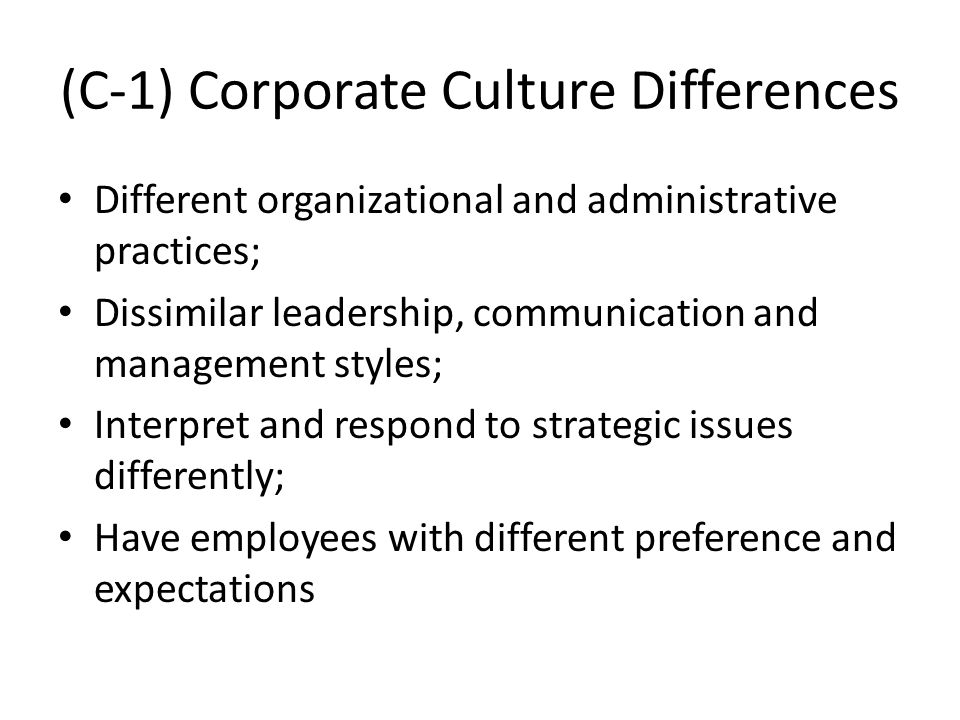(C-1) Corporate Culture Differences