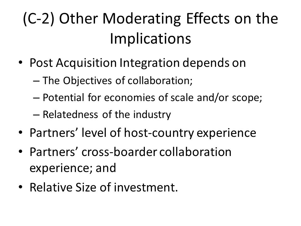 (C-2) Other Moderating Effects on the Implications