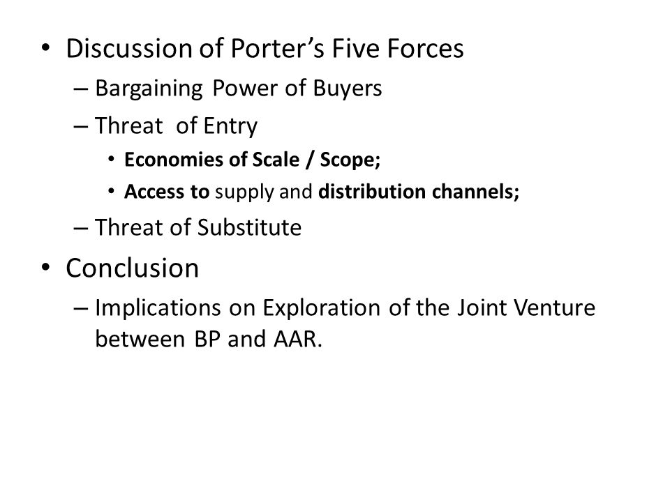 Discussion of Porter's Five Forces
