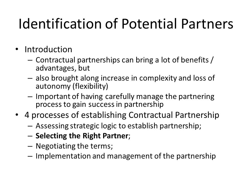 Identification of Potential Partners