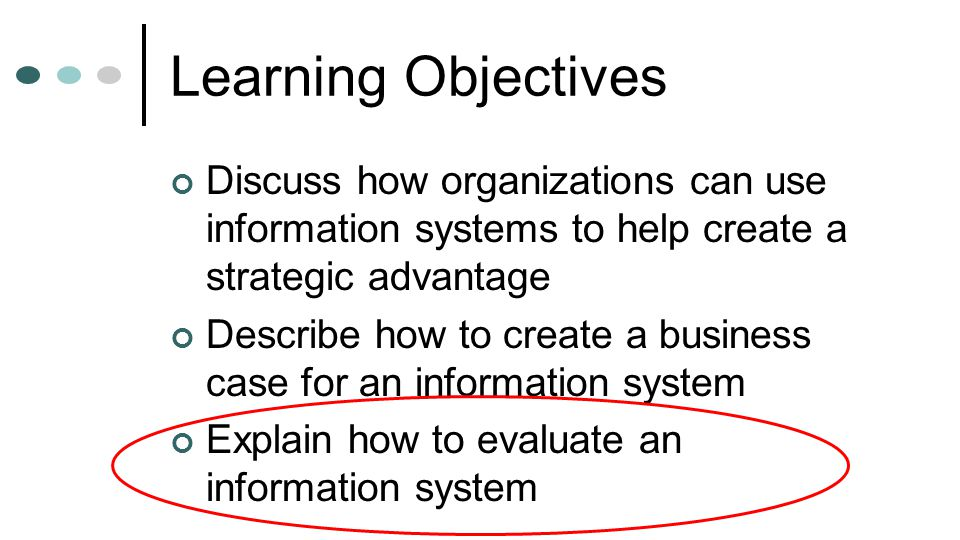Learning Objectives Discuss how organizations can use information systems to help create a strategic advantage.