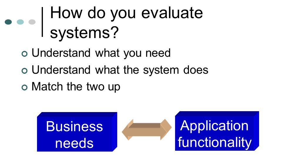 How do you evaluate systems