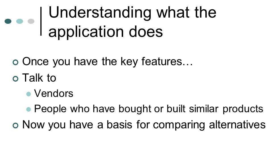 Understanding what the application does