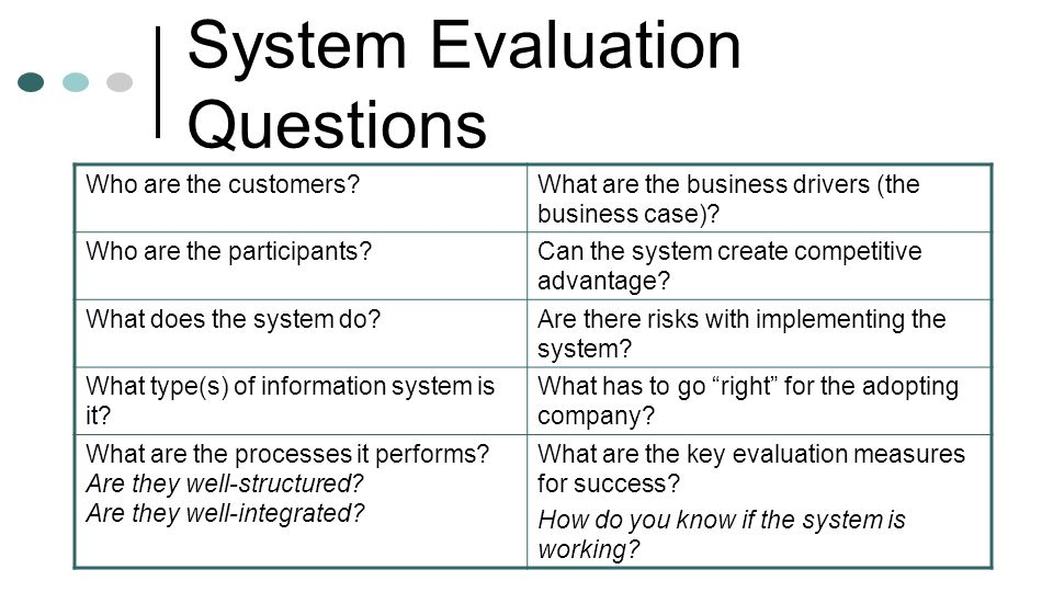 System Evaluation Questions
