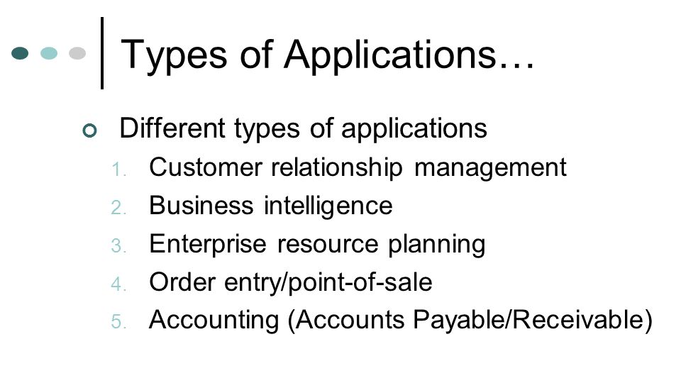 Types of Applications…