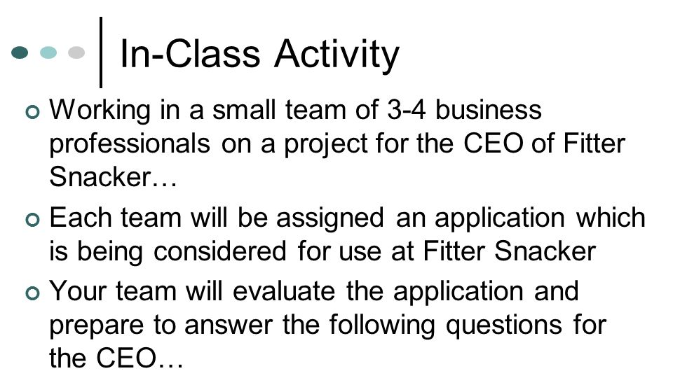 In-Class Activity Working in a small team of 3-4 business professionals on a project for the CEO of Fitter Snacker…