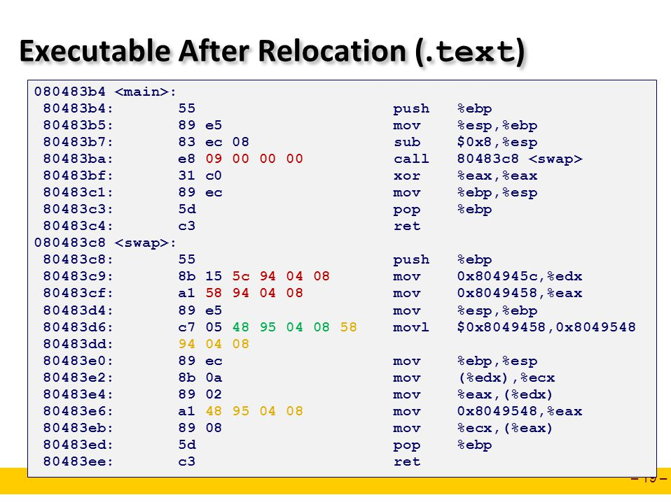 Executable After Relocation (.text)