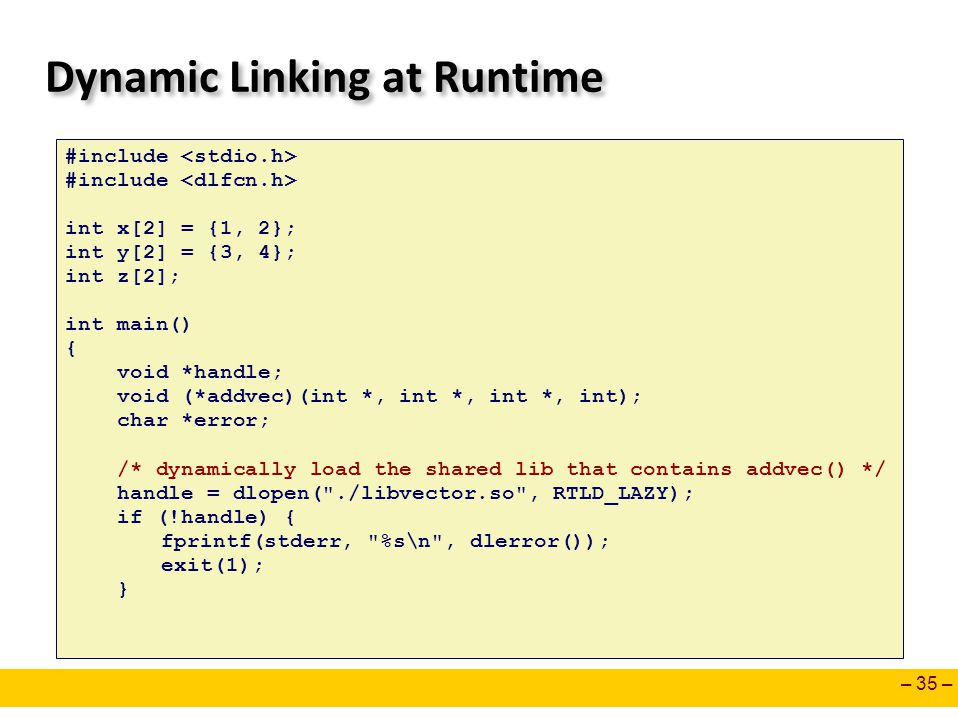 Dynamic Linking at Runtime