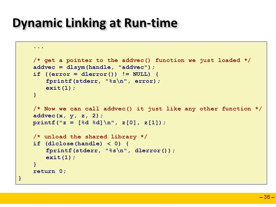 Dynamic Linking at Run-time