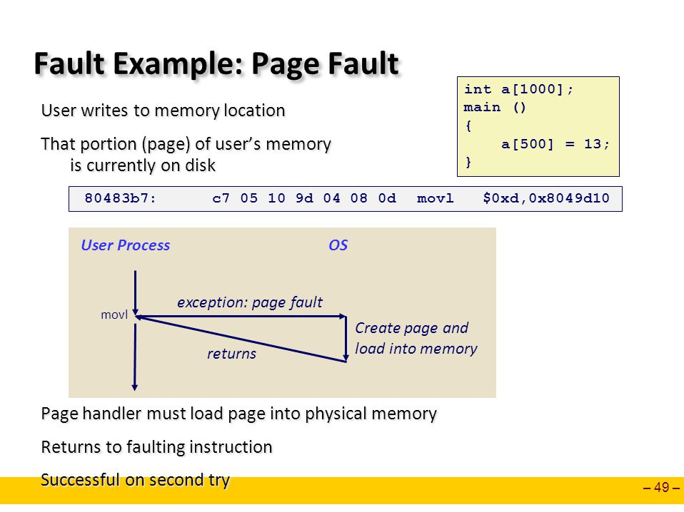Fault Example: Page Fault