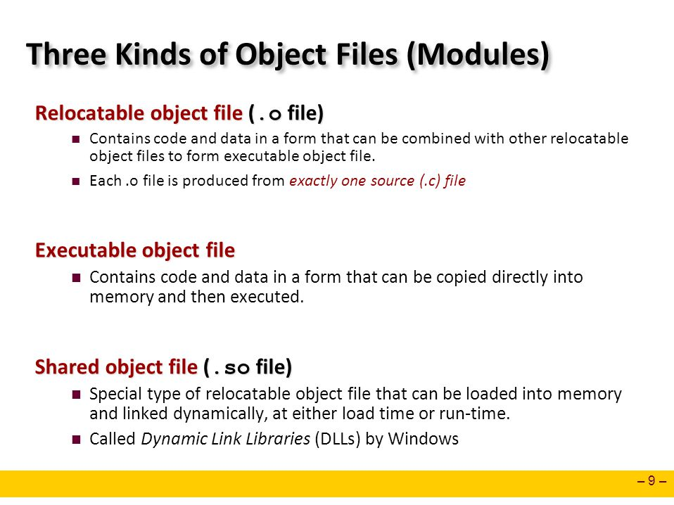 Three Kinds of Object Files (Modules)