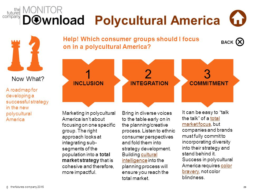 BACK Help! Which consumer groups should I focus on in a polycultural America BACK. 1. 2. 3. Now What
