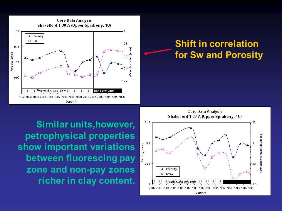 Similar units,however, petrophysical properties show important variations between fluorescing pay zone and non-pay zones richer in clay content.