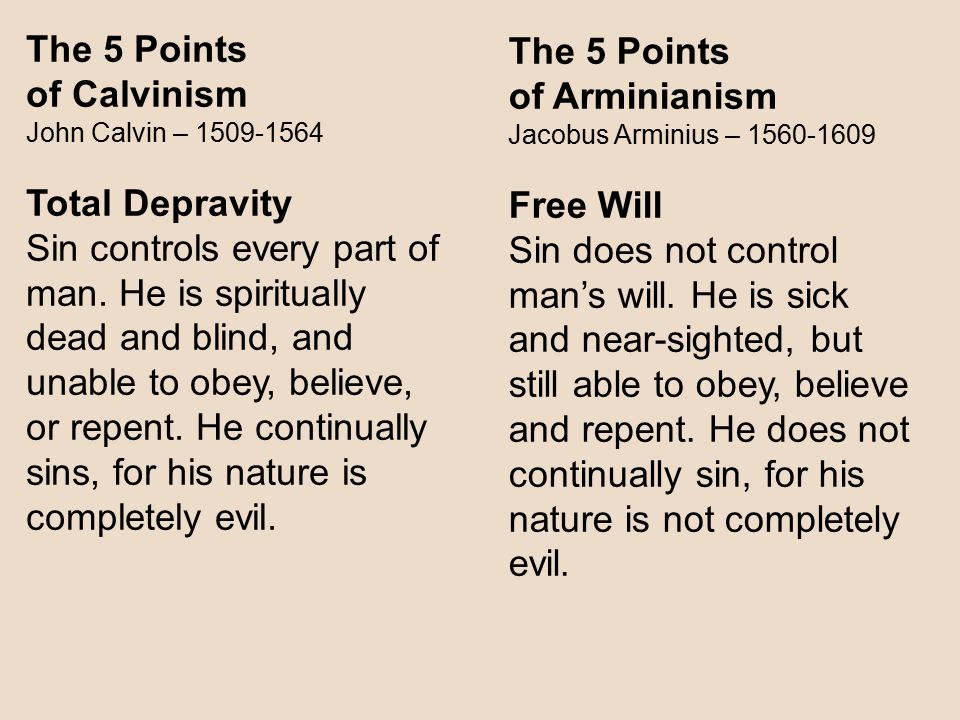 The 5 Points The 5 Points of Calvinism of Arminianism Total Depravity