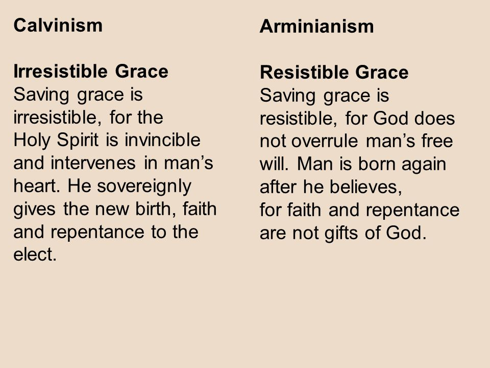 Calvinism Irresistible Grace. Saving grace is irresistible, for the.