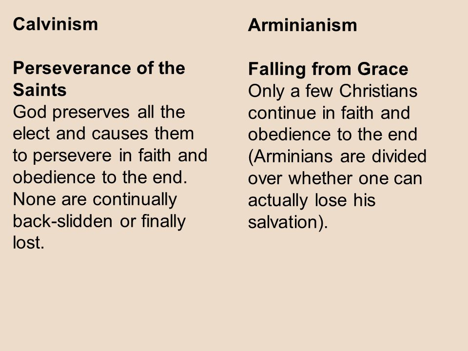 Calvinism Perseverance of the Saints. God preserves all the elect and causes them to persevere in faith and.