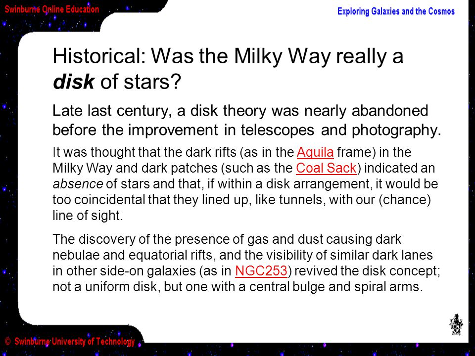 Historical: Was the Milky Way really a disk of stars