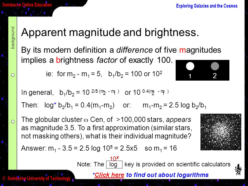 Apparent magnitude and brightness.