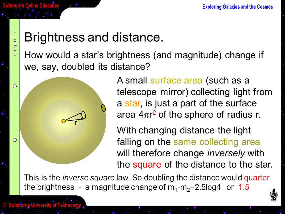 Brightness and distance.