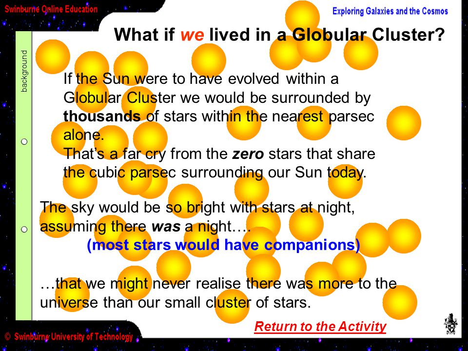 What if we lived in a Globular Cluster