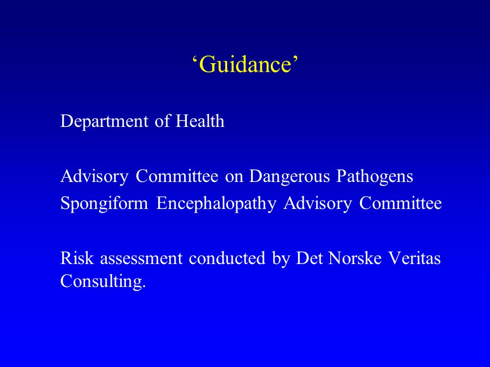 'Guidance' Department of Health