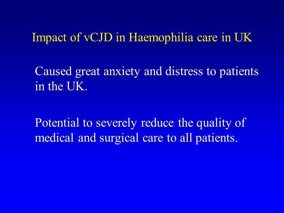 Impact of vCJD in Haemophilia care in UK