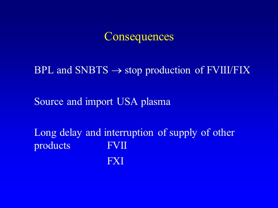BPL and SNBTS  stop production of FVIII/FIX
