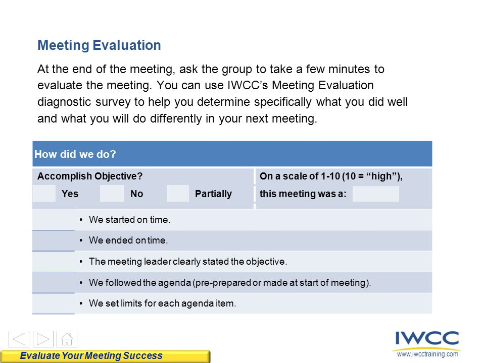 Meeting Evaluation