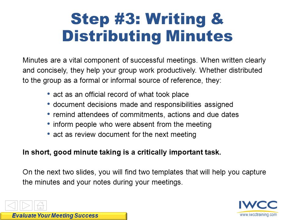 Step #3: Writing & Distributing Minutes