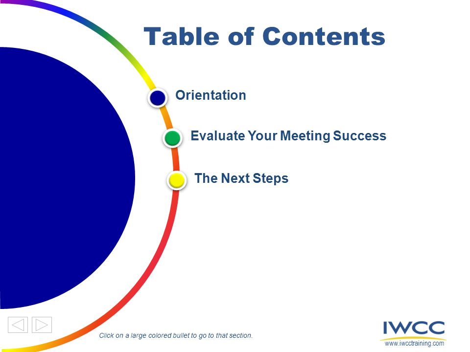 Table of Contents Orientation Evaluate Your Meeting Success