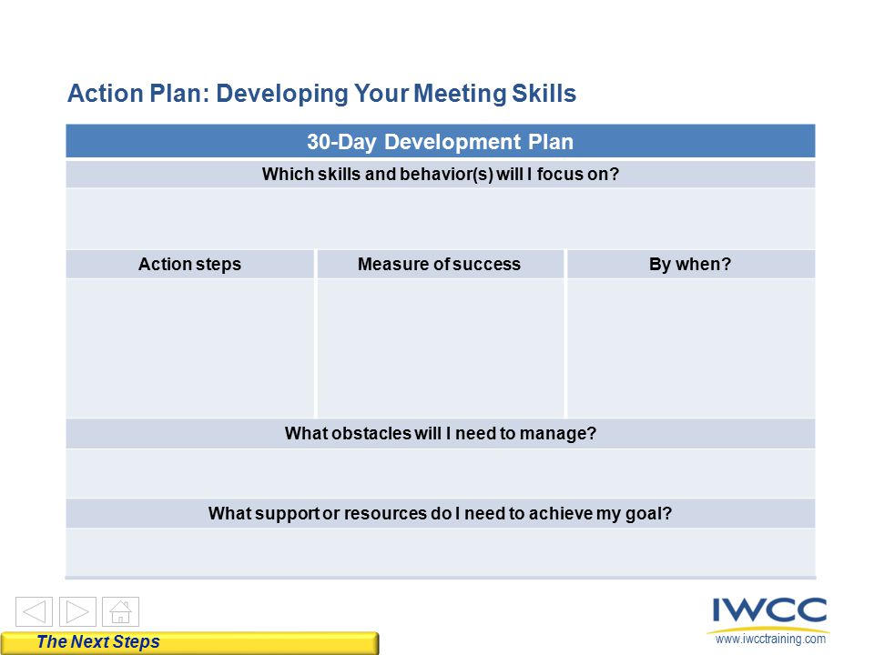 Action Plan: Developing Your Meeting Skills