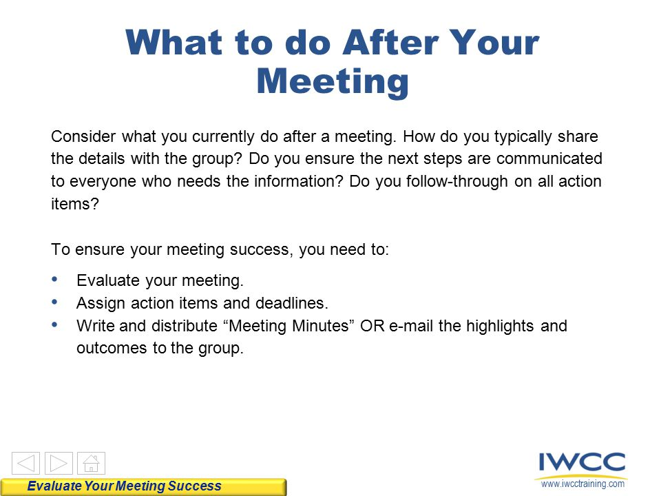 What to do After Your Meeting