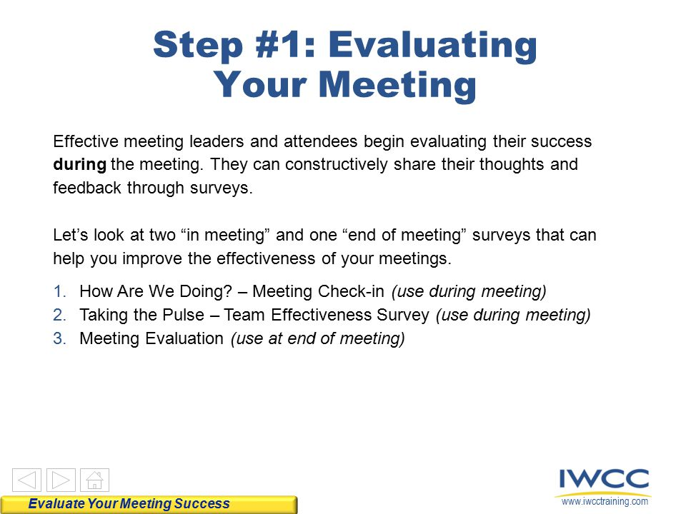 Step #1: Evaluating Your Meeting