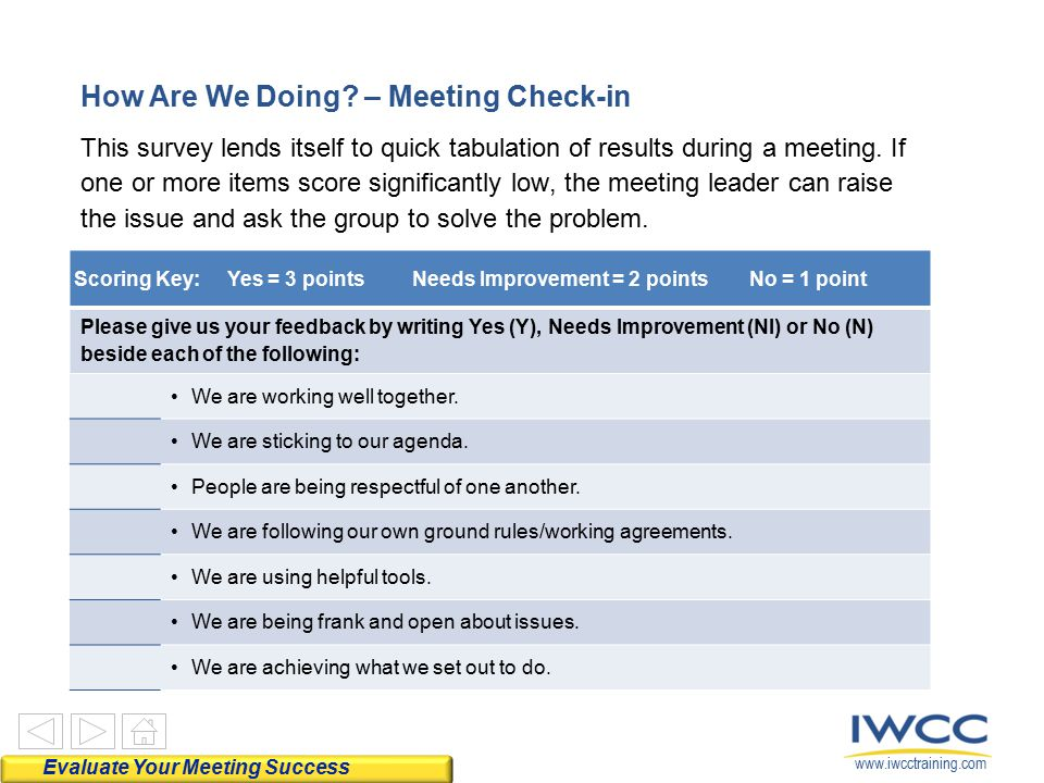 How Are We Doing – Meeting Check-in