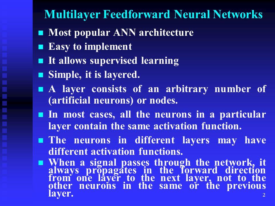 Multilayer Feedforward Neural Networks