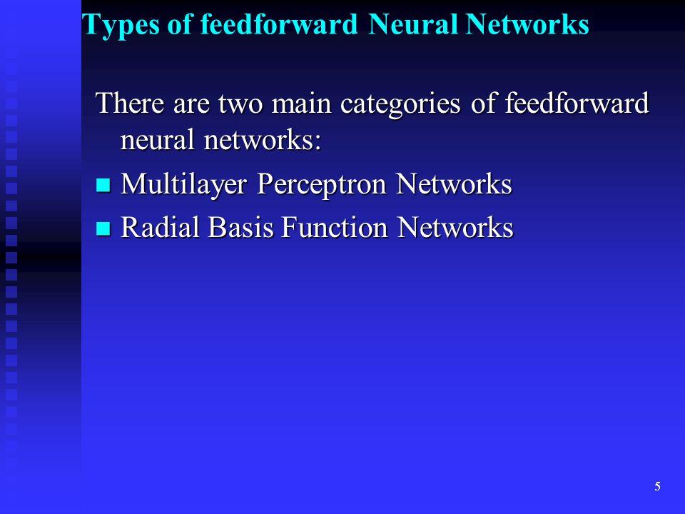 Types of feedforward Neural Networks