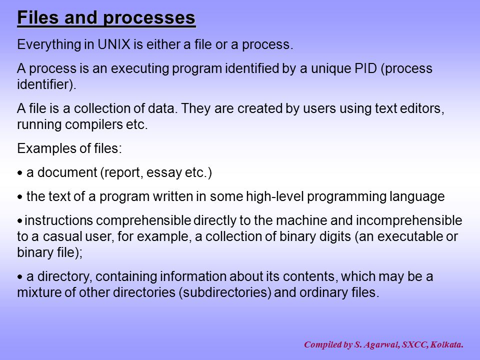 Files and processes Everything in UNIX is either a file or a process.