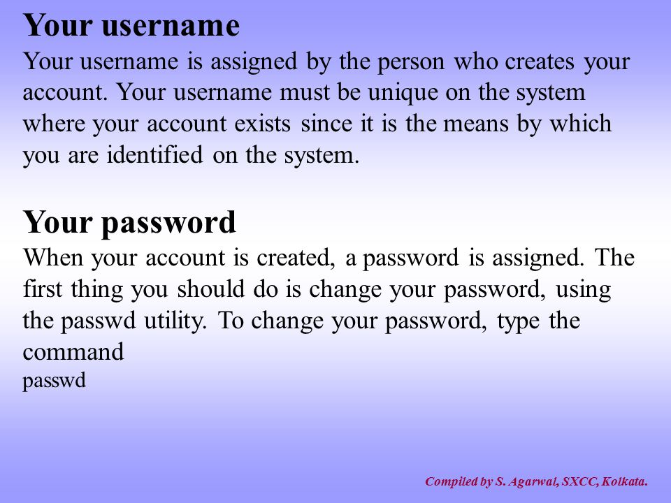 Your username Your password