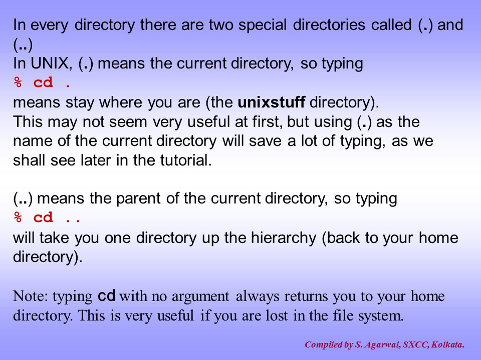 In every directory there are two special directories called (. ) and (