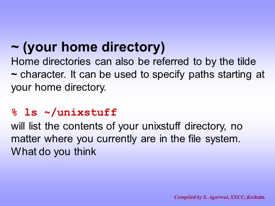 ~ (your home directory)