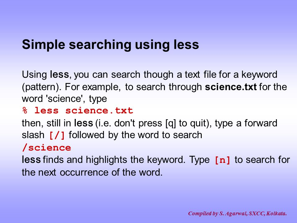 Simple searching using less