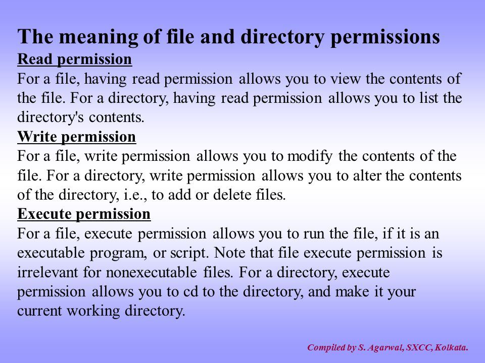 The meaning of file and directory permissions