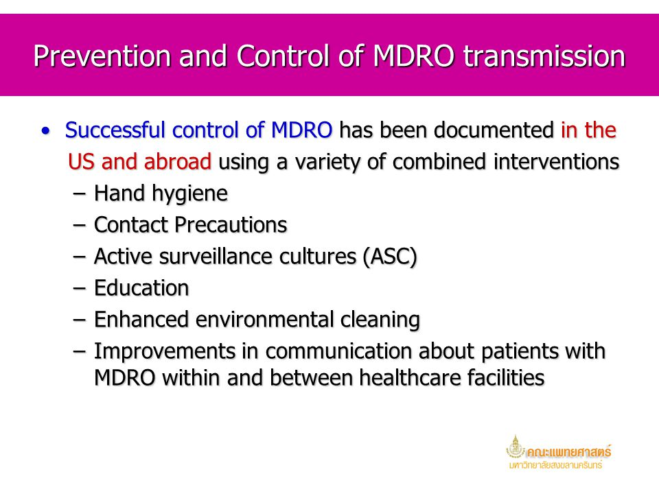 Prevention and Control of MDRO transmission