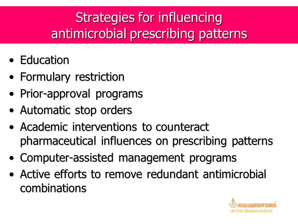 Strategies for influencing antimicrobial prescribing patterns