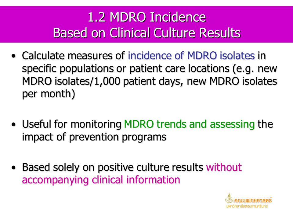 1.2 MDRO Incidence Based on Clinical Culture Results
