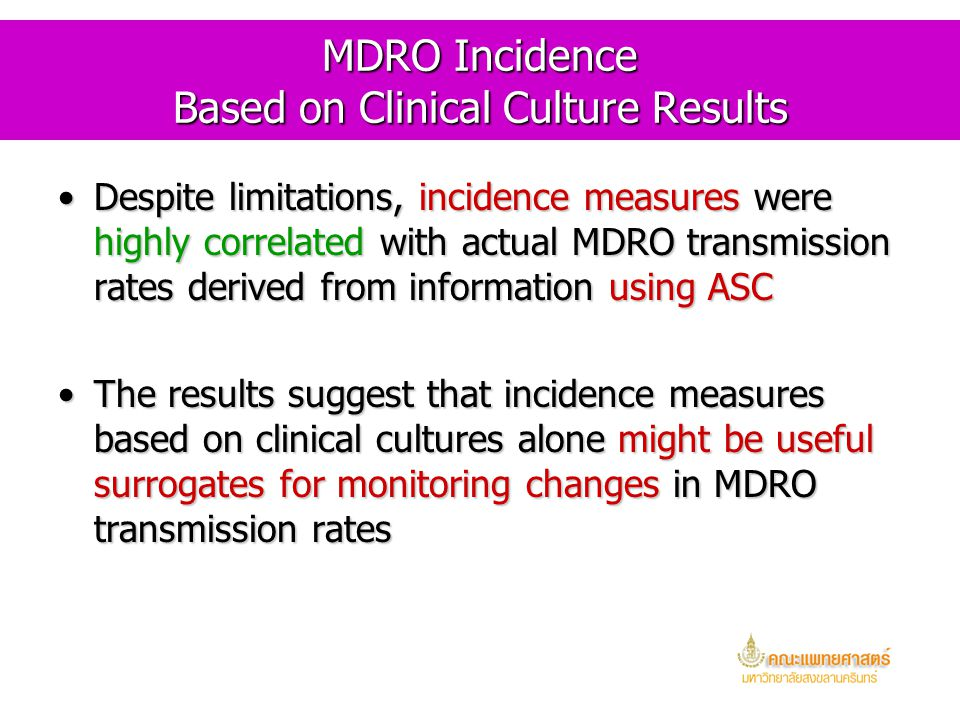 MDRO Incidence Based on Clinical Culture Results