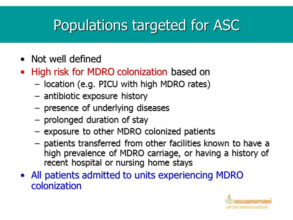 Populations targeted for ASC