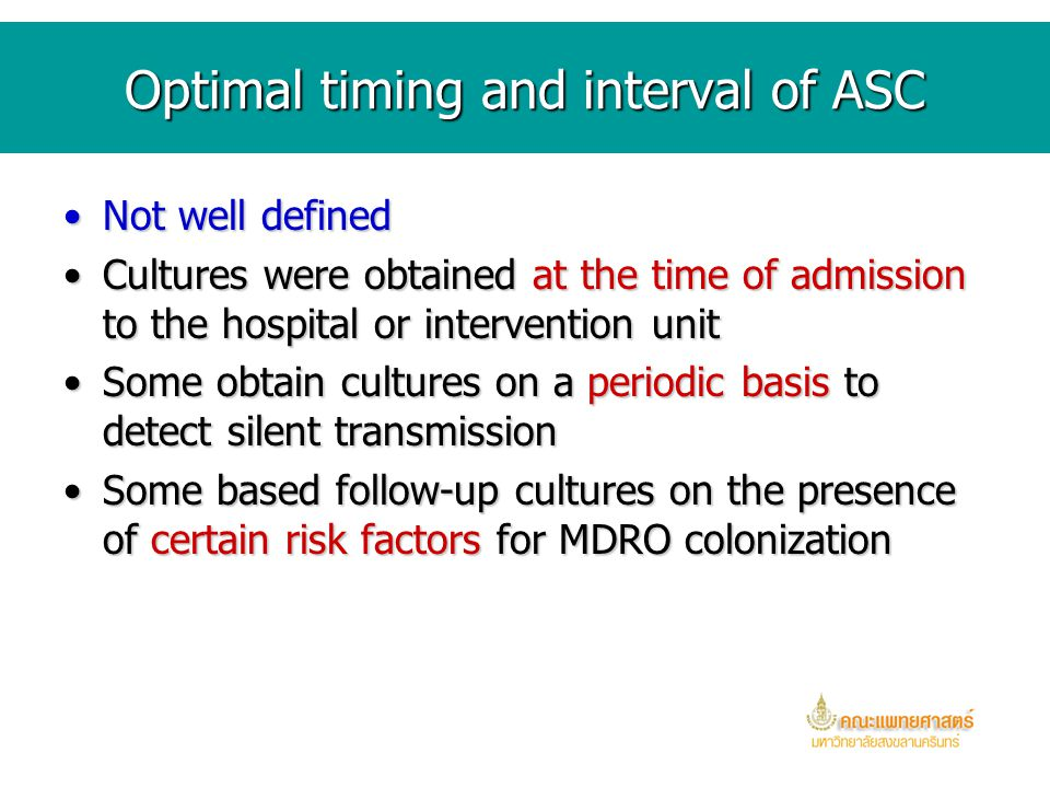 Optimal timing and interval of ASC