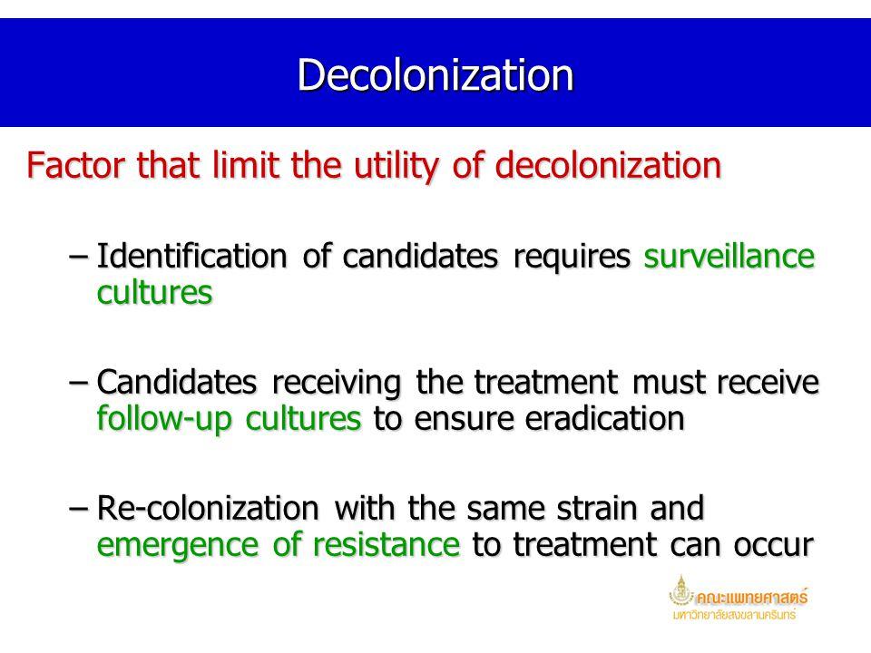 Decolonization Factor that limit the utility of decolonization